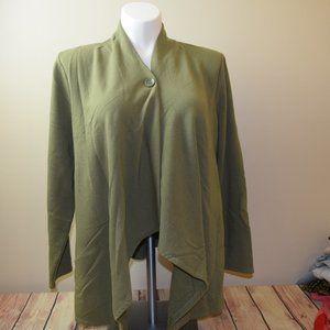D & Co Draped Cardigan Olive Green XL